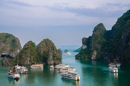 Halong Bay,Vietnam - November 4,2017 : Scenic landscape view of the Halong Bay with cruises from Surprise Cave (Sung Sot Cave),Vietnam.