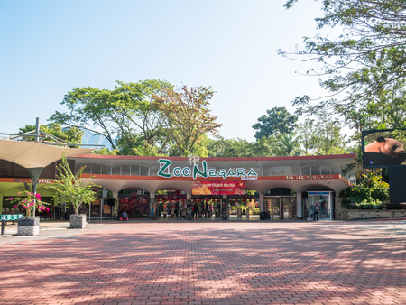 Kuala Lumpur, Malaysia - Feb 19,2018 : Entrance view of the National Zoo in Kuala Lumpur, the zoo was officially opened on 14 November 1963. People can seen visiting and exploring it. 에디토리얼