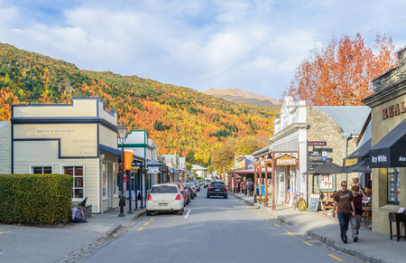 Arrowtown, New Zealand - April 27,2016 : People can seen exploring around the Arrowtown at Buckingham Street.