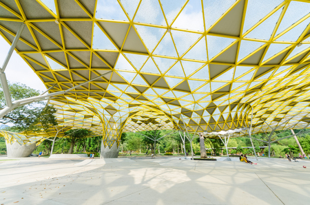 Kuala Lumpur,Malaysia - Aug 22,2018 : Lake Gardens also known as Kuala Lumpur Perdana Botanical Gardens, it is KL's first large-scale recreational park. People can seen exercise and cycling around it.