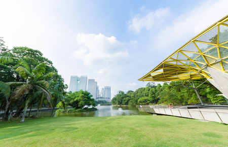 Kuala Lumpur,Malaysia - Aug 22,2018 : Lake Gardens also known as Kuala Lumpur Perdana Botanical Gardens, it is KL's first large-scale recreational park. People can seen exercise around it.