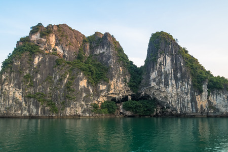 Beautiful view of rock island in Halong Bay, Vietnam.It is a beautiful natural wonder in northern Vietnam near the Chinese border.