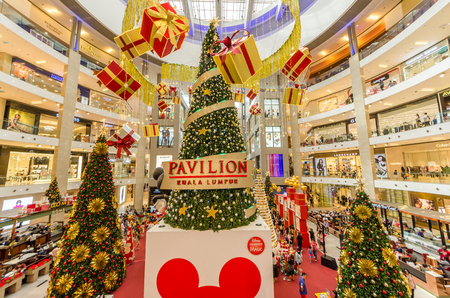 Kuala Lumpur,Malaysia - December 29,2018 : Christmas decoration with Meeska Mooska Mickey Mouse's sculpture to commemorate Mickey Mouse's 90th anniversary celebration in Pavilion Kuala Lumpur.