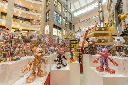 Kuala Lumpur,Malaysia - December 29,2018 : Mickey Mouse's figurines Christmas decoration in Pavilion Kuala Lumpur to commemorate Mickey Mouse's 90th anniversary celebration.