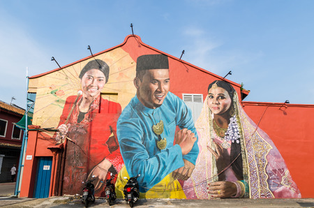 Malacca, Malaysia - April 21, 2019:  Street art on the building along the Malaysia Malacca River, it has been listed as UNESCO World Heritage Site since 772008. Editorial