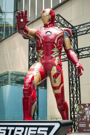 Kuala Lumpur,Malaysia - September 7,2019 : A huge Iron man statue display at the KL Pavilion, there is the Marvel Studios Ten Years of Heroes exhibit in Malaysia. 報道画像