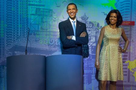 Bangkok,Thailand - November 1,2019 : Barack Obama and Michelle Obama wax figure display at Madame Tussauds Museum,Siam Discovery in Bangkok Thailand.
