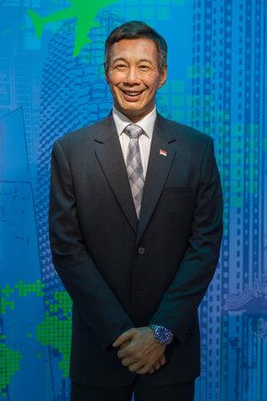 Bangkok,Thailand - November 1,2019 : Lee Hsien Loong wax figure display at Madame Tussauds Museum,Siam Discovery in Bangkok Thailand.
