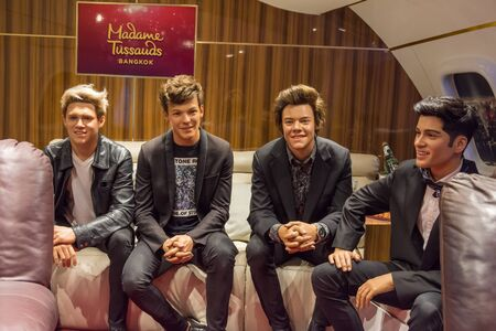 Bangkok,Thailand - November 1,2019 : Members of the boy band One Direction wax figure display at Madame Tussauds Museum,Siam Discovery in Bangkok Thailand.