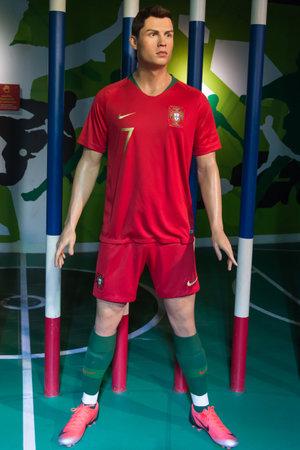 Bangkok,Thailand - November 1,2019 : Cristiano Ronaldo wax figure display at Madame Tussauds Museum,Siam Discovery in Bangkok Thailand.
