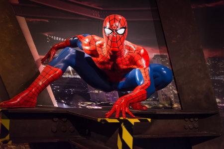 Bangkok,Thailand - November 1,2019 : Spiderman wax figure display at Madame Tussauds Museum,Siam Discovery in Bangkok Thailand.