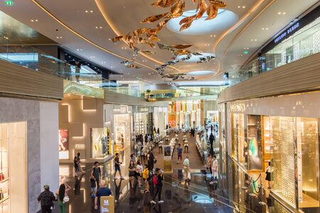 Iconsiam ,Thailand -Oct 30,2019: People can seen exploring around Iconsiam shopping mall,it is offers high-end brands, an indoor floating market, exhibition space, and beautiful riverside location.