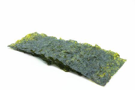 Roasted seaweed sheets isolated on white background.