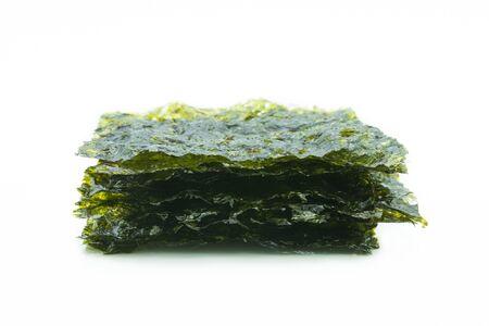 Roasted seaweed sheets isolated on white background. Reklamní fotografie