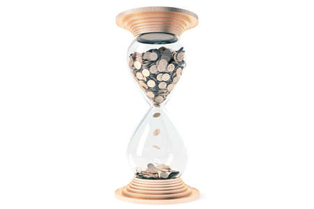 3d animation: hourglass with golden sand dollars instead of rotate. White background. Isolate.