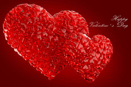 esp card: Valentines composition of the hearts 3d render Stock Photo