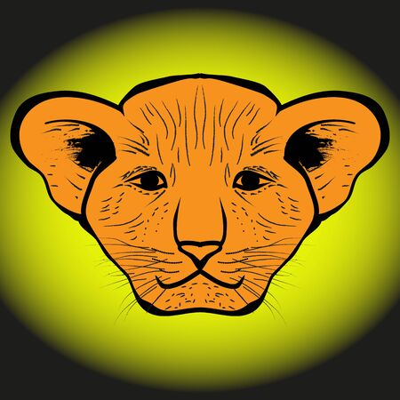 gaze: lion cub drawn from human gaze Illustration