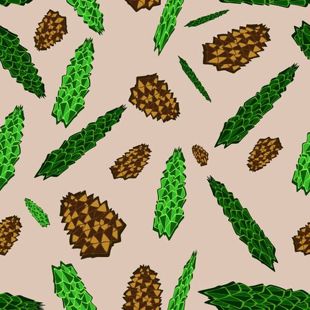 pine cones: spruce branch. forest card with fir branches and pine cones