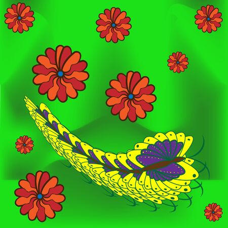 creeps: greeting card with butterfly, caterpillar and flowers on green summer grass Illustration