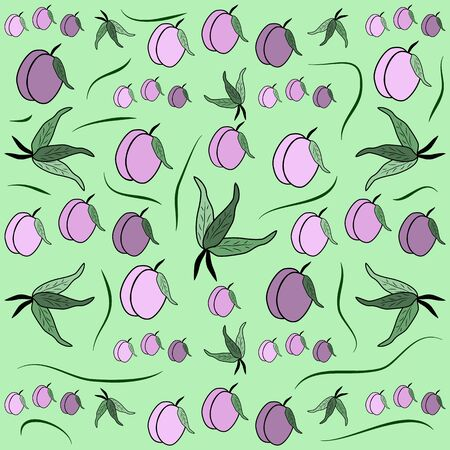 prune: Fruit pattern from plum with leaf, card, fabric, tablecloth