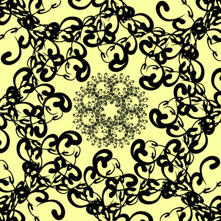 florid: black florid pattern. black florid pattern on pale yellow background