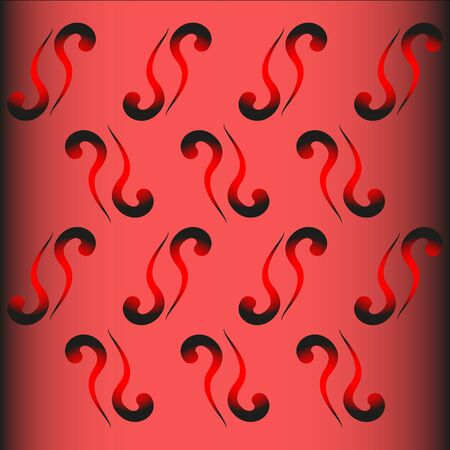 sable: Red commas. Pink, burgundy background with black and red with commas.