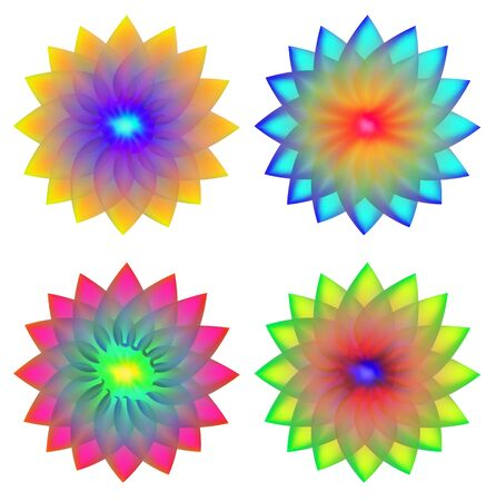 brilliant colors: Flowers. Four variants of a transparent brilliant colors for a logo, decoration or accessory. Illustration
