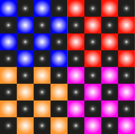 checkerboard backdrop: Chess board. Abstract colorful squares and balls. Illustration
