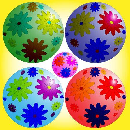 flowered: Balls. Balls flowered Christmas toy or rubber ball.