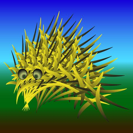 Abstract urchin. Cartoon hedgehog with yellow needles in nature