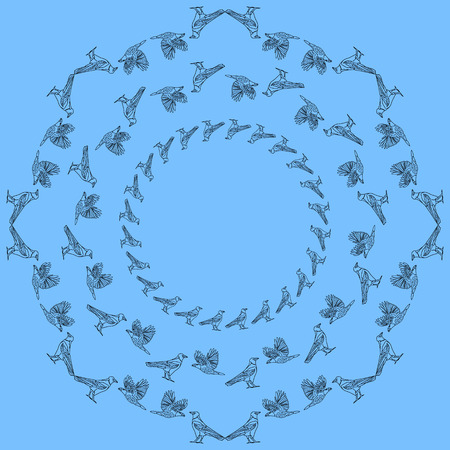 crows: Frames with crows. Vintage round frame of crows in various poses. Illustration