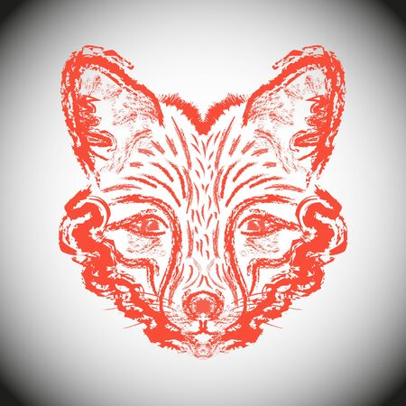 sideburns: Muzzle foxes. Fox with sideburns, sketch strokes. Illustration