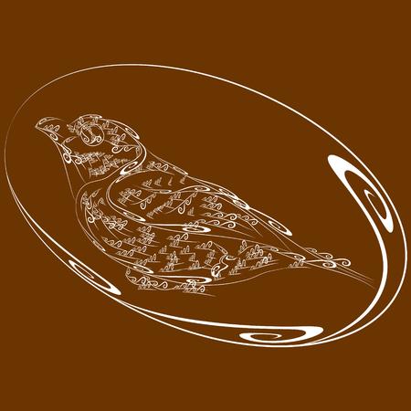 little bird: A little bird in flower. Sparrow, titmouse, bird field in an oval frame Illustration