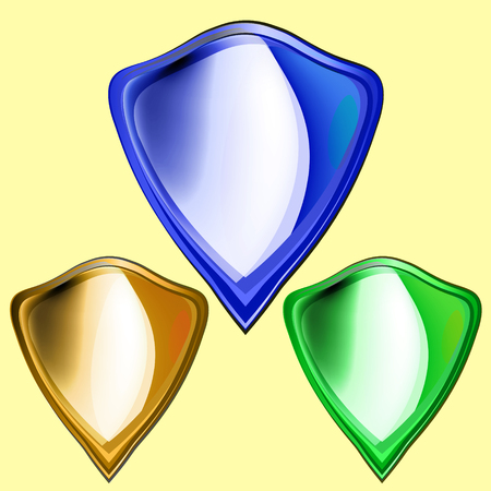 bulk: Shield Icon. Set of colored metal bulk shields, gold, green, blue