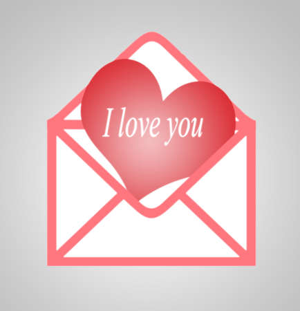 I love you in a heart out of an envelope photo