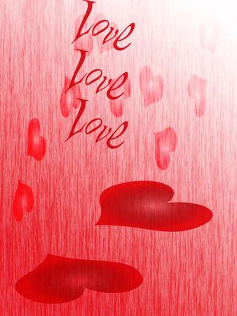 Rain of hearts, Valentines Day Stock Photo