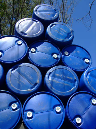 Plastic drums stacked