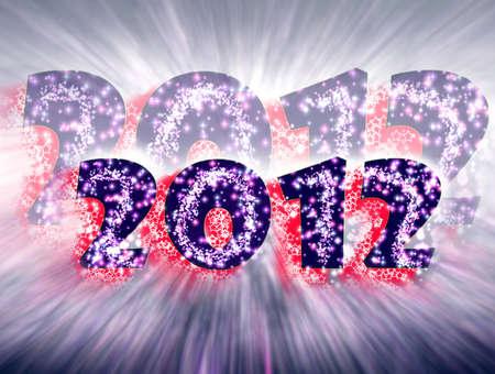 make summary: 2012, Happy New Year, Stock Photo