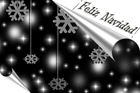 Merry Christmas illustration in silver illustration