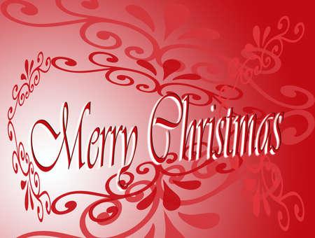 Christmas card with red filigree Reklamní fotografie