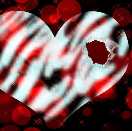 heartbreak: Hole in the heart.  Broken heart