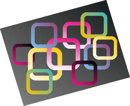 subtlety: colored squares on gray Stock Photo