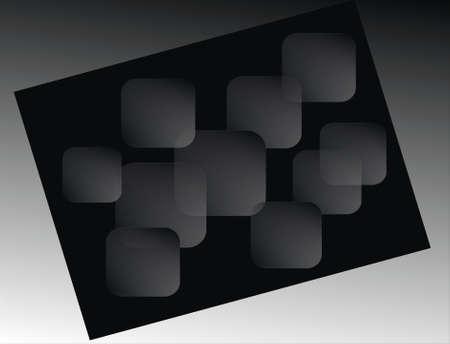 subtlety:  transparent squares on black Stock Photo