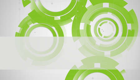 Abstract technology circles lines on green photo