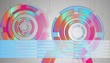 Abstract technology circles lines photo