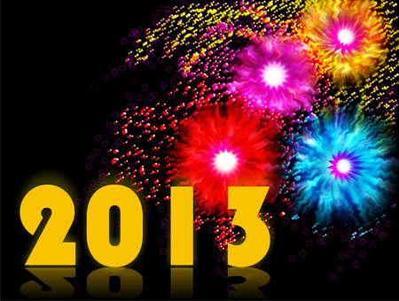 2013, new Year, fireworks celebrations Stock Photo - 14256481