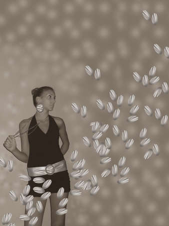 Women between the silver leaves Stock Photo - 15155224