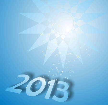 parting merry christmas: happy new year 2013 on blue Stock Photo