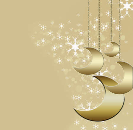 Christmas background with gold moons
