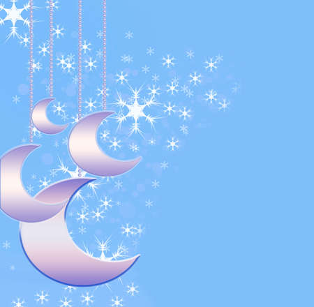 parting merry christmas: Christmas background with delicate moons Stock Photo